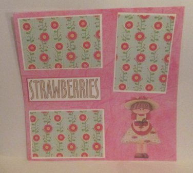 """Strawberries""-Premade Scrapbook Page 12x12"