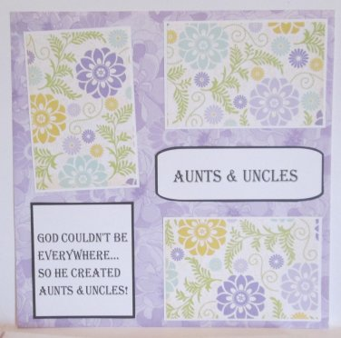 """""""Aunts and Uncles f""""-Premade Scrapbook Page 12x12"""