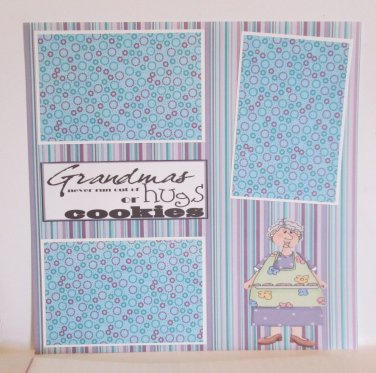 """""""Grandma's Never Run Out Of Hugs a""""-Premade Scrapbook Page 12x12"""