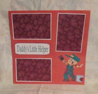 """Daddy's Little Helper""-Premade Scrapbook Page 12x12"