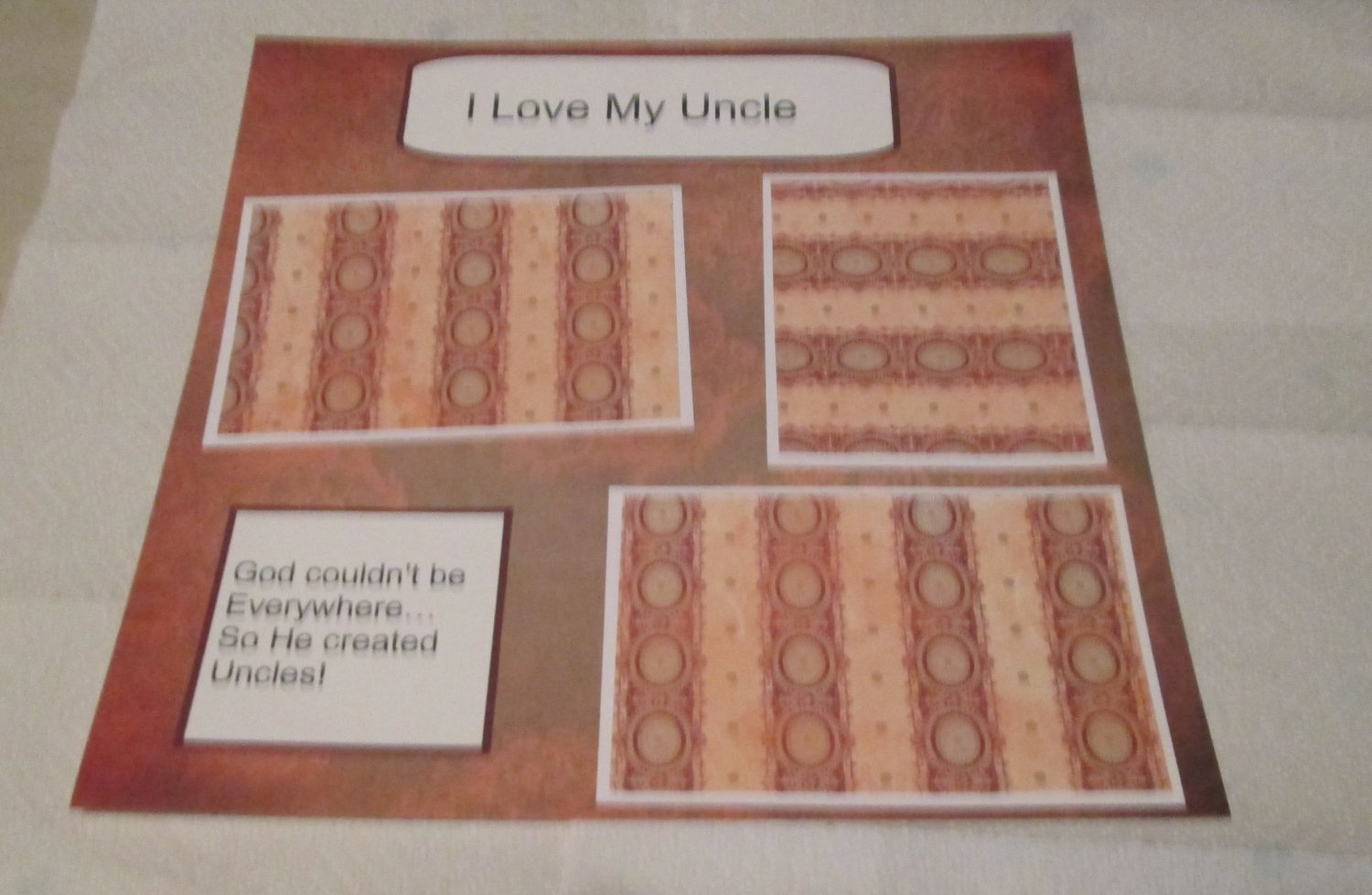 """""""I Love My Uncle b""""-Premade Scrapbook Page 12x12"""
