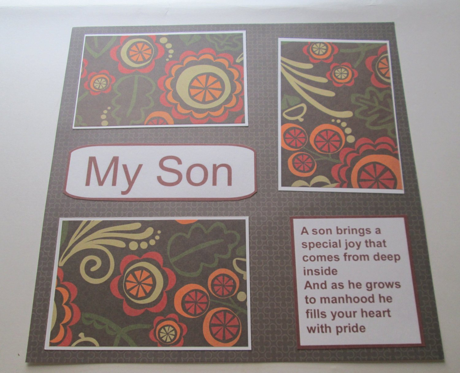 """""""My Son""""-Premade Scrapbook Page 12x12"""