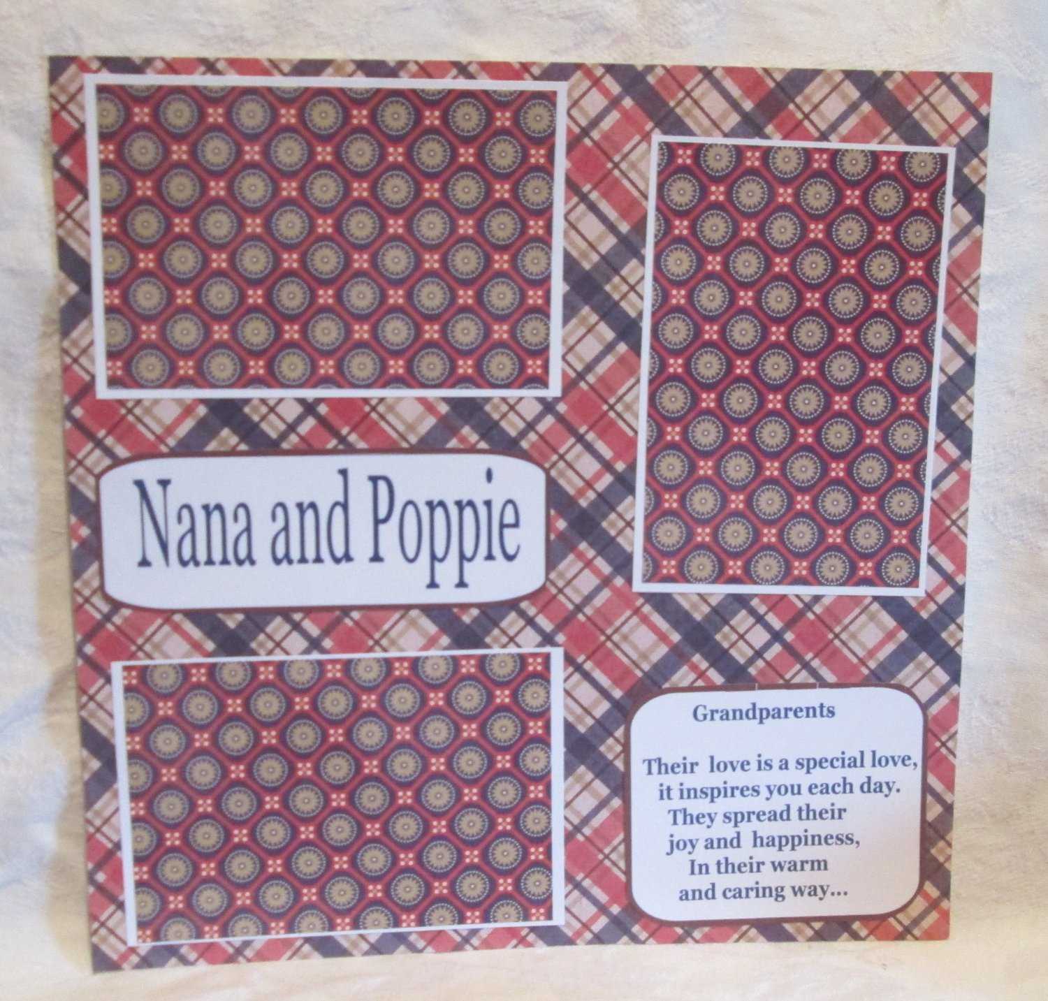 """Nana and Poppie""-Premade Scrapbook Page 12x12"