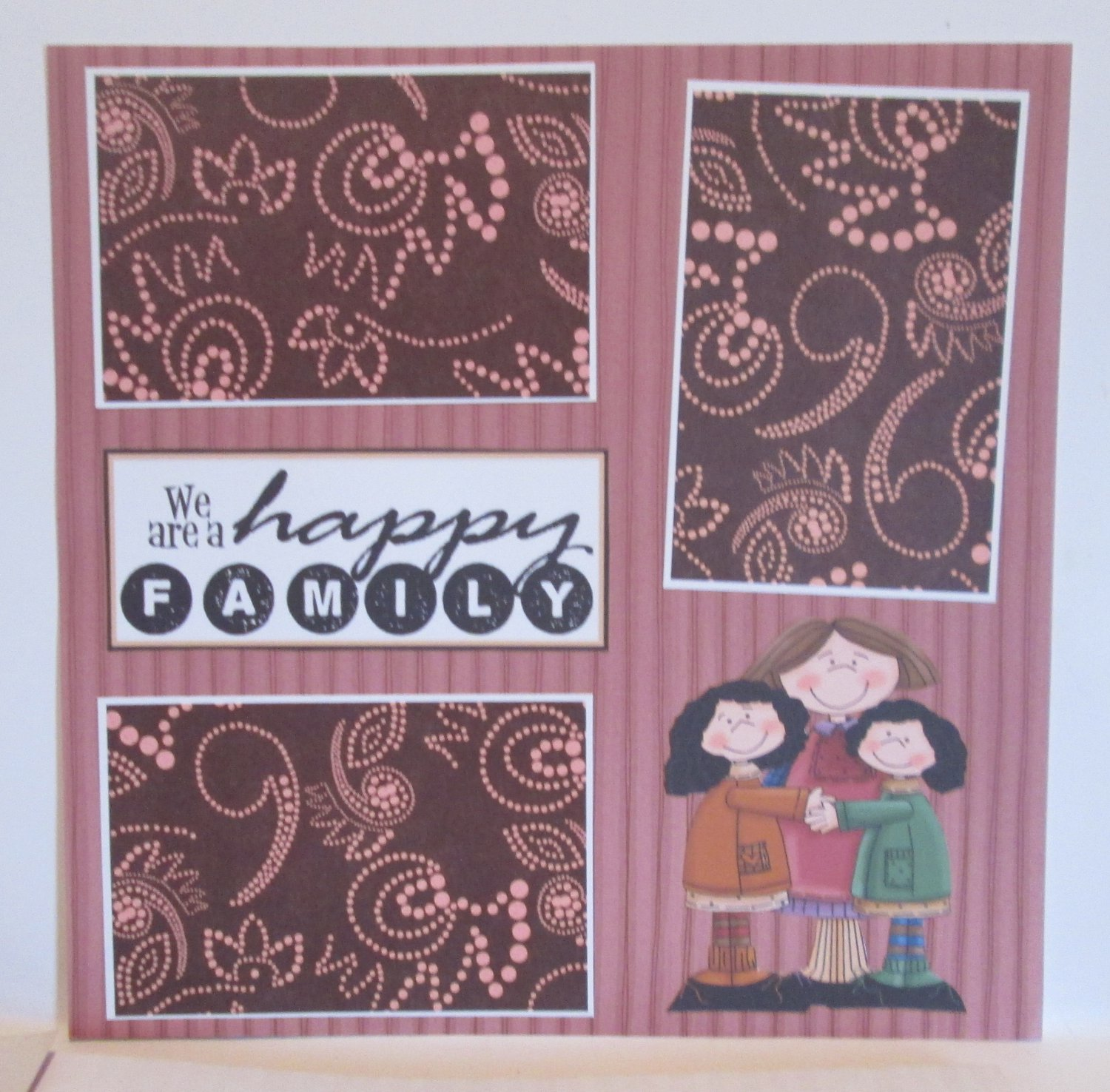 """""""We Are A Happy Family""""-Premade Scrapbook Page 12x12"""