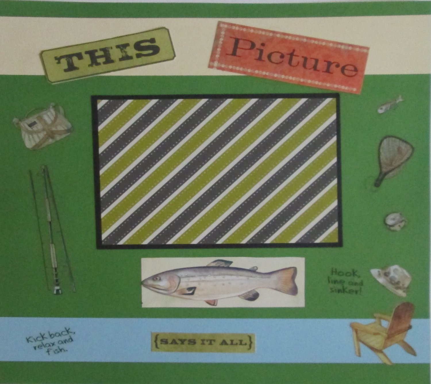 """""""This Picture Says It All Fish""""-Premade Scrapbook Page 12x12"""