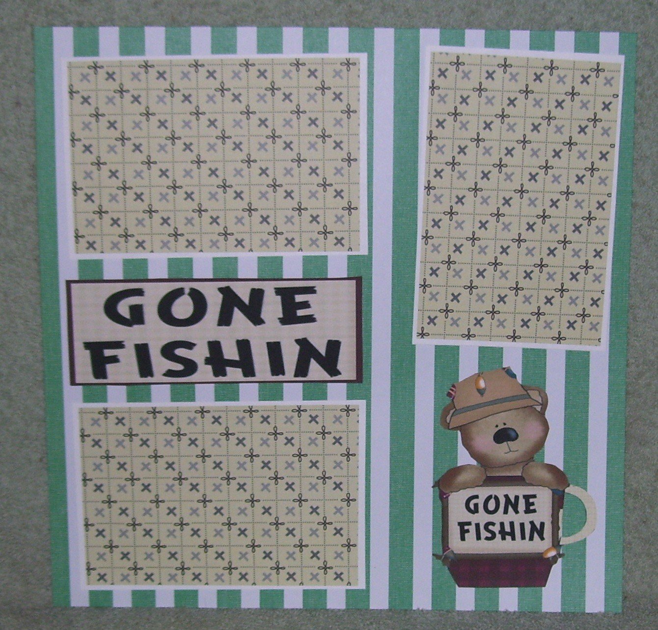 """Gone Fishing Bear 1""-Premade Scrapbook Page 12x12"