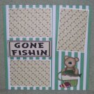 """Gone Fishing Bear 2""-Premade Scrapbook Page 12x12"