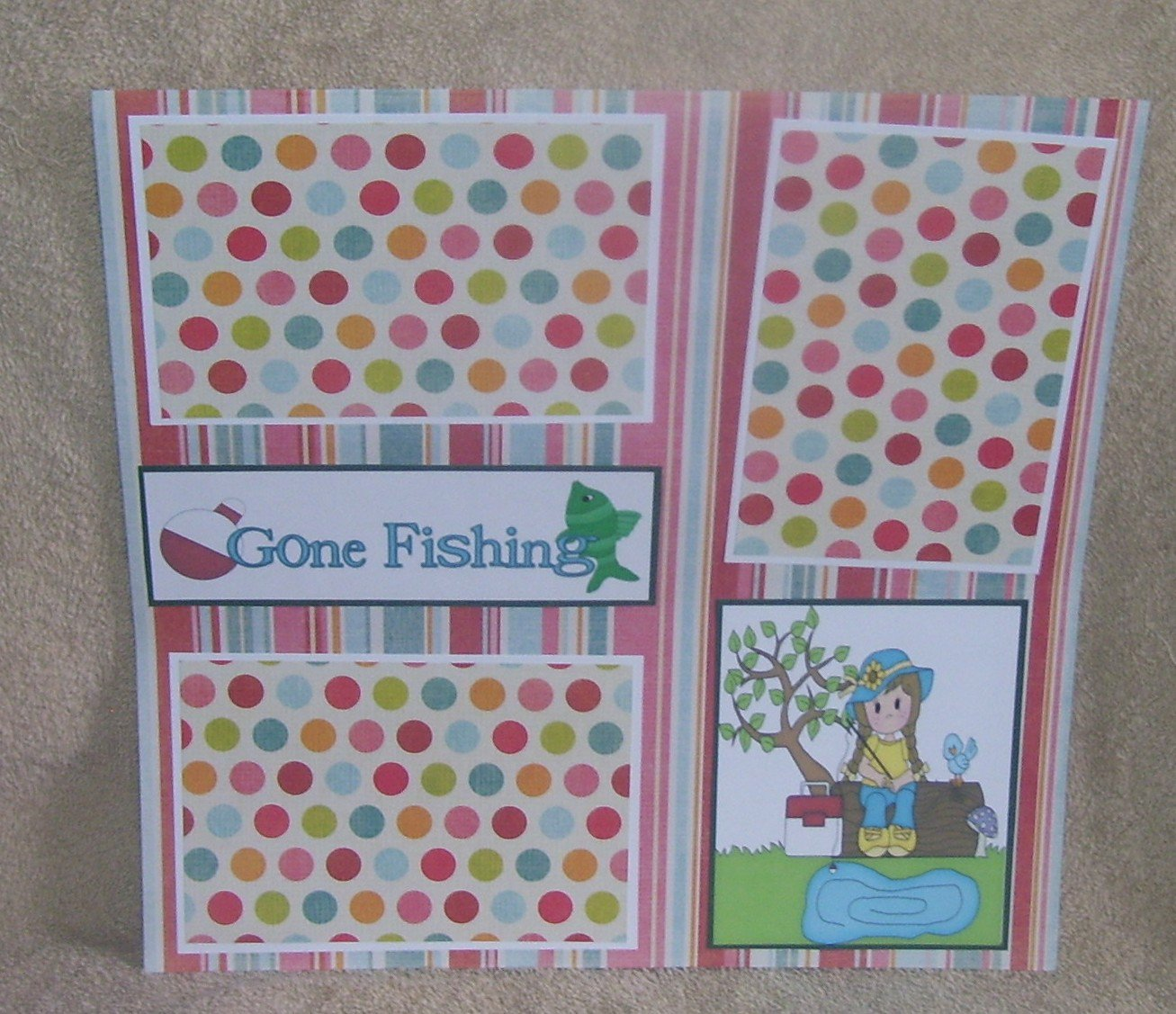 """Gone Fishing Girl bl""-Premade Scrapbook Page 12x12"