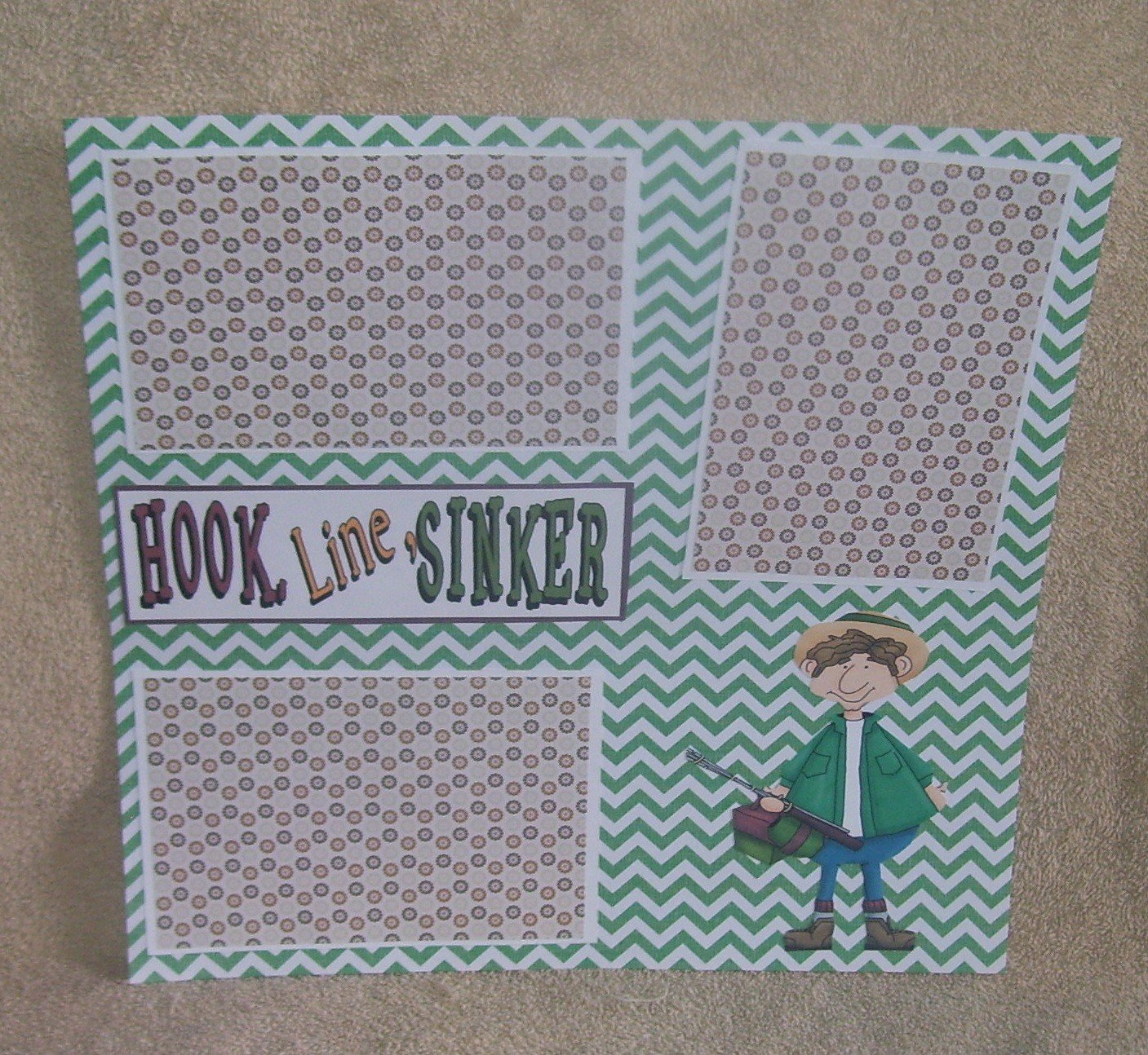 """""""Hook Line and Sinker""""-Premade Scrapbook Page 12x12"""