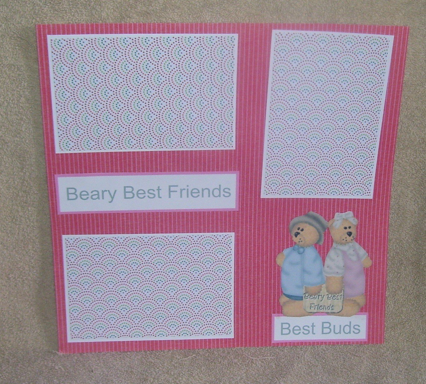 """""""Beary Best Friends""""-Premade Scrapbook Page 12x12"""