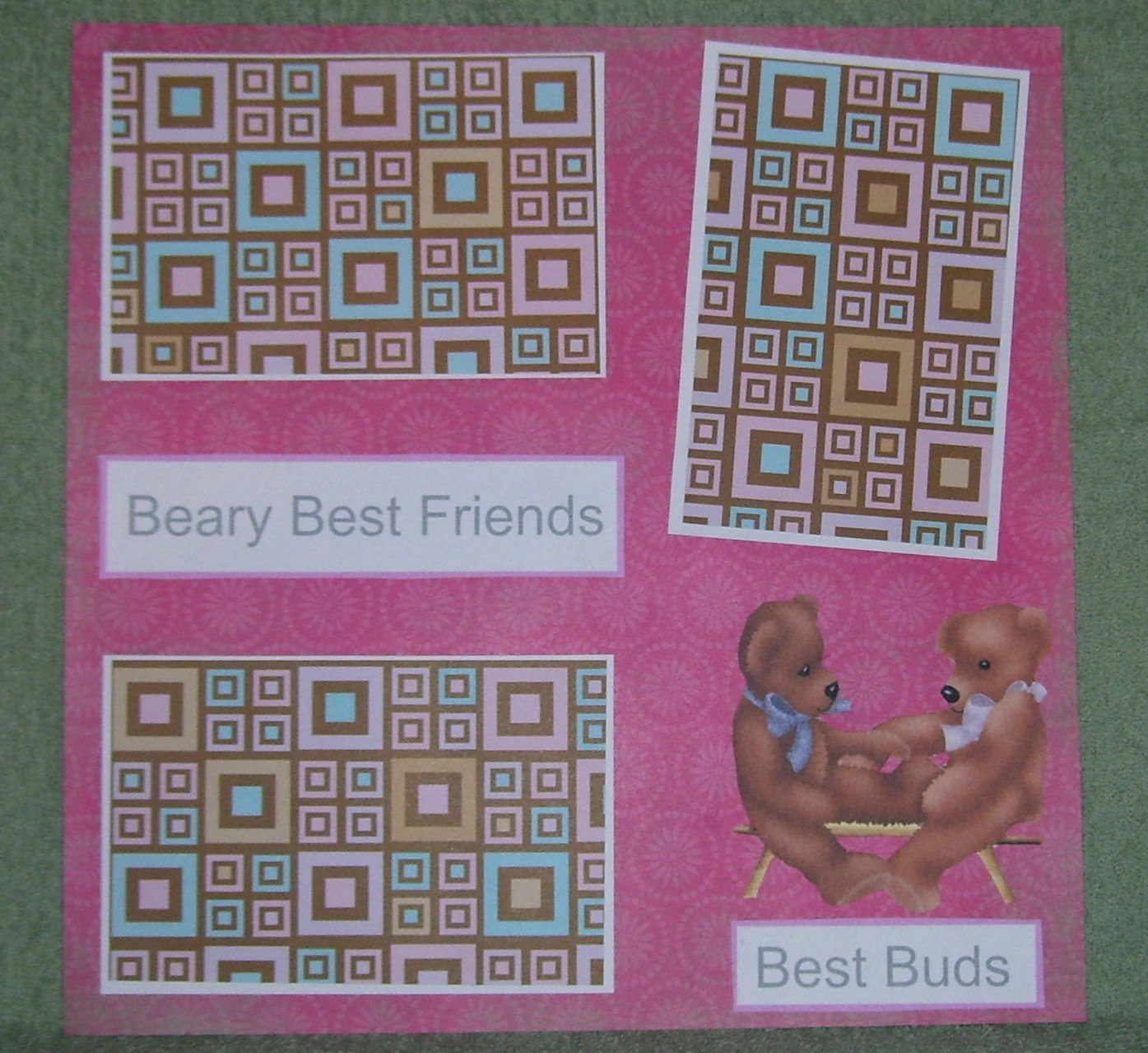 """Beary Best Friends a""-Premade Scrapbook Page 12x12"