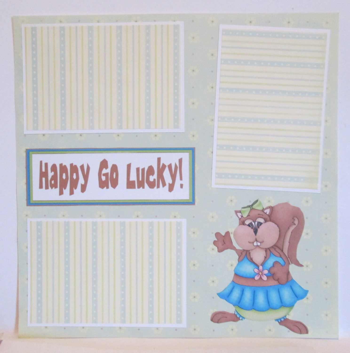 """Happy Go Lucky a""-Premade Scrapbook Page 12x12"