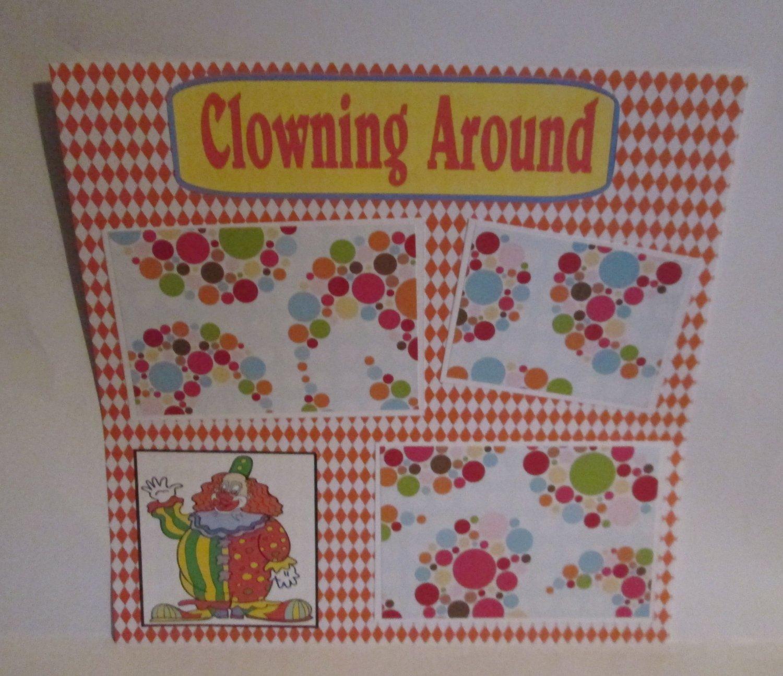"""Clowning Around c""-Premade Scrapbook Page 12x12"