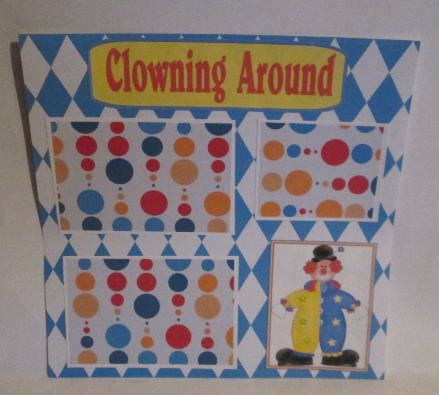 """Clowning Around c1""-Premade Scrapbook Page 12x12"