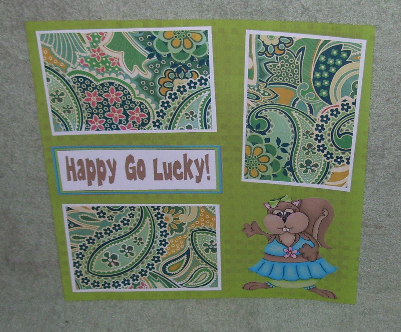 """""""Happy Go Lucky""""-Premade Scrapbook Page 12x12"""