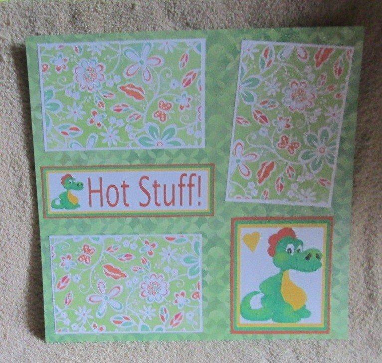 """Hot Stuff Dragon""-Premade Scrapbook Page 12x12"