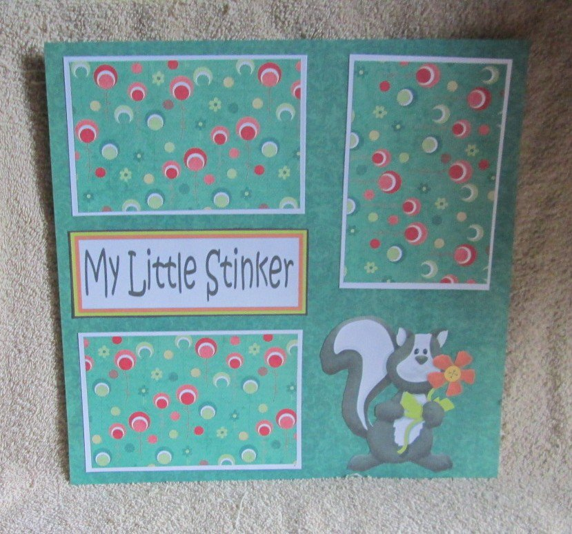 """My Little Stinker nw""-Premade Scrapbook Page 12x12"