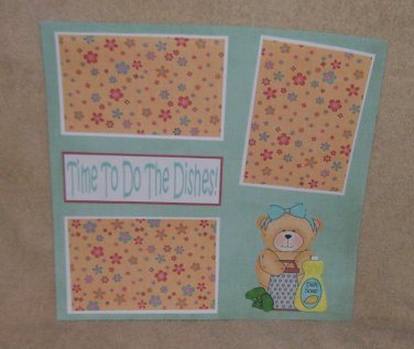"""Time To Do The Dishes""-Premade Scrapbook Page 12x12"