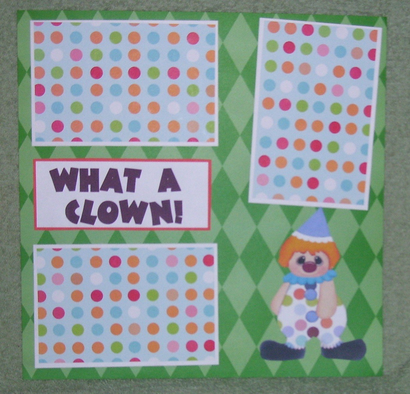 """""""What A Clown""""-Premade Scrapbook Page 12x12"""