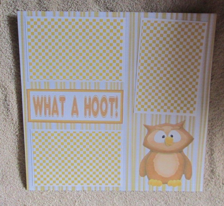 """""""What A Hoot nw""""-Premade Scrapbook Page 12x12"""