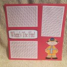 """Where's The Fire Boy""-Premade Scrapbook Page 12x12"