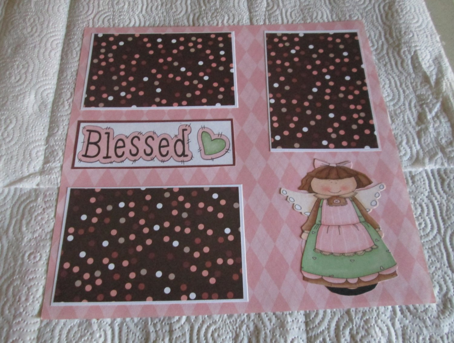 """""""Blessed Angel Girl 2""""-Premade Scrapbook Page 12x12"""