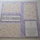 """First Holy Communion Girl Saying a""-Premade Scrapbook Page 12x12"