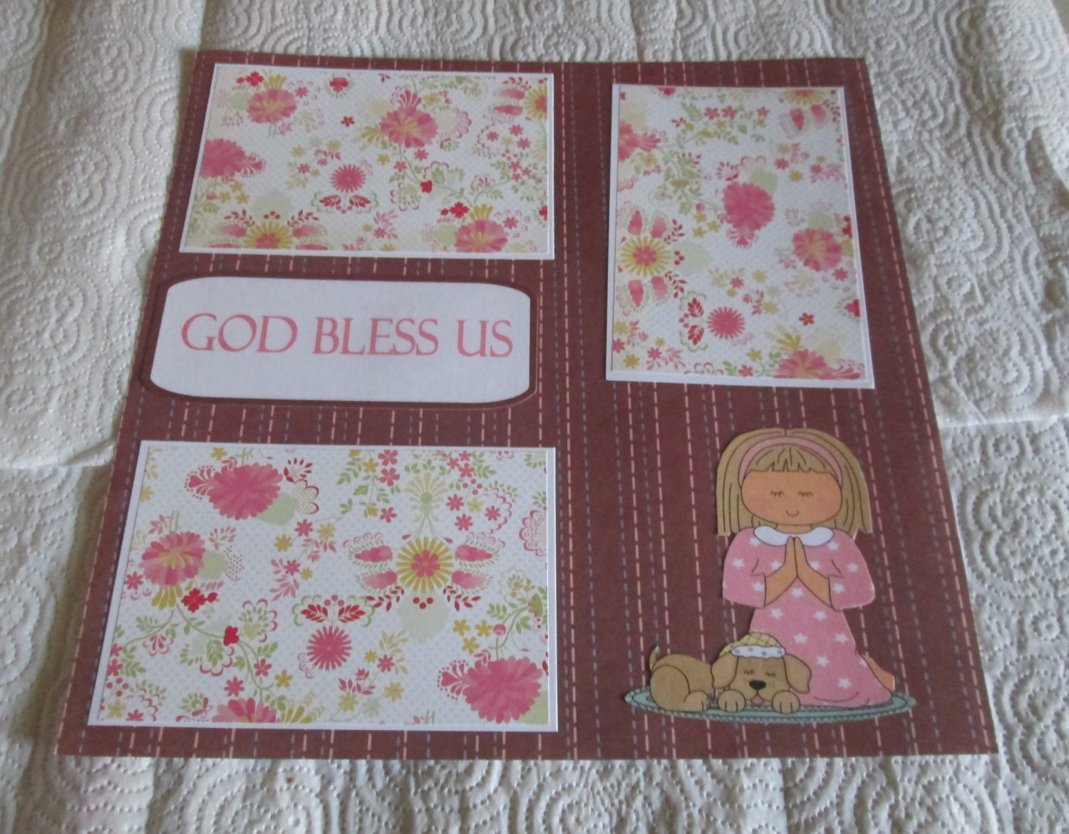"""God Bless Us""-Premade Scrapbook Page 12x12"