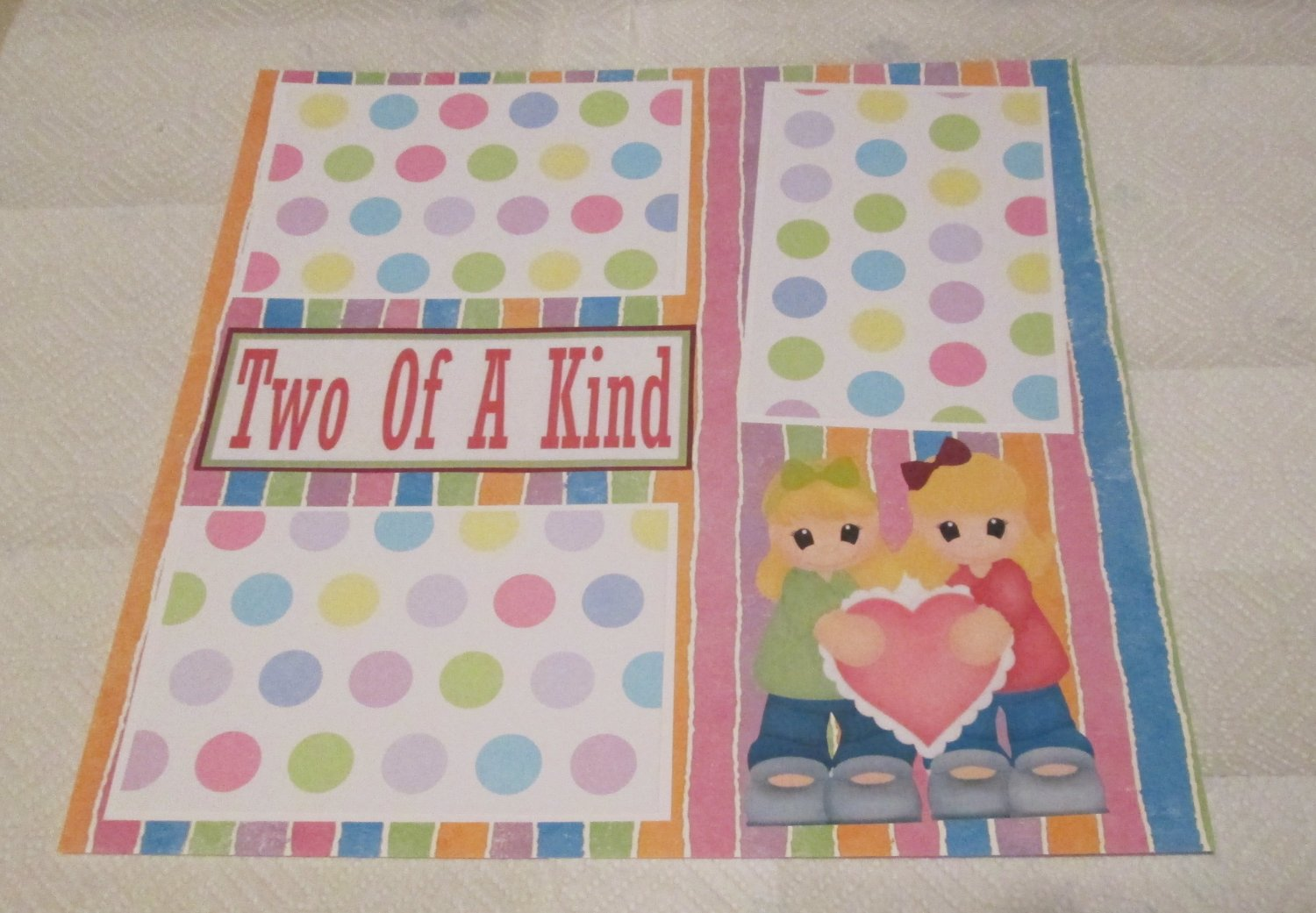 """""""Two Of A Kind Girls""""-Premade Scrapbook Page 12x12"""