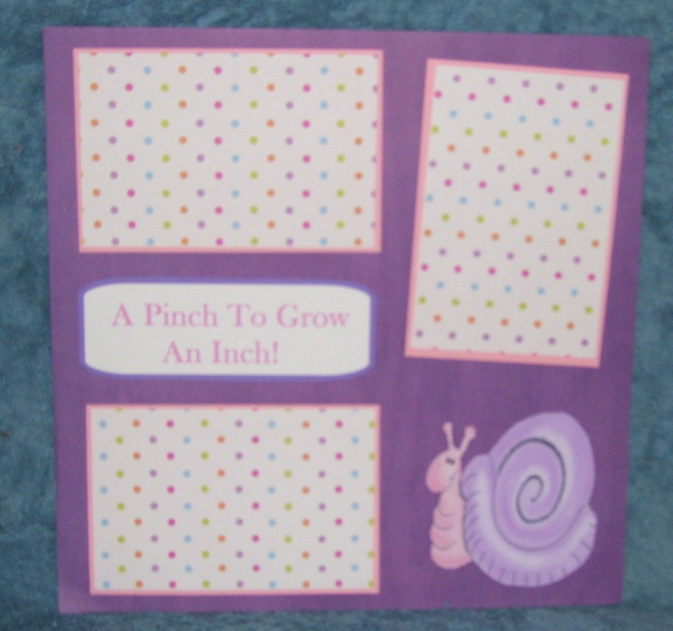 """A Pinch To Grow An Inch Girl""-Premade Scrapbook Page 12x12"