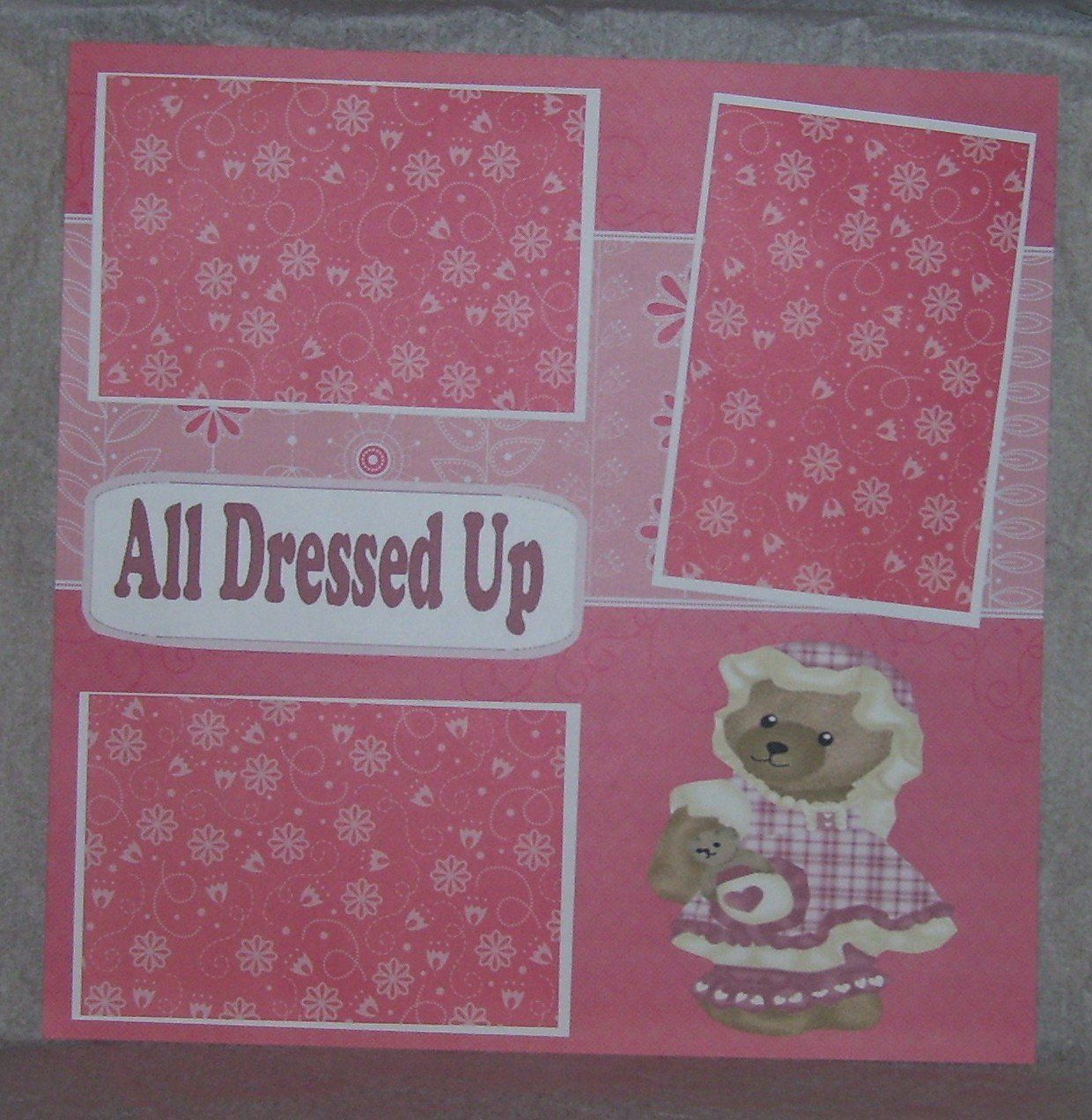 """""""All Dressed Up Bear w/Hat""""-Premade Scrapbook Page 12x12"""