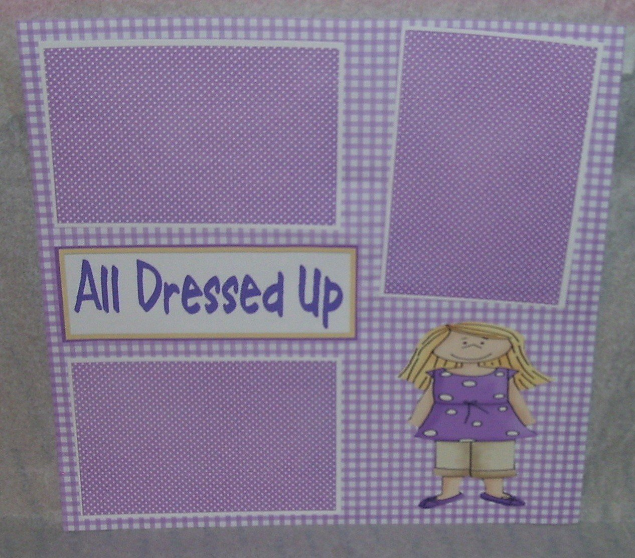 """All Dressed Up Girl""-Premade Scrapbook Page 12x12"