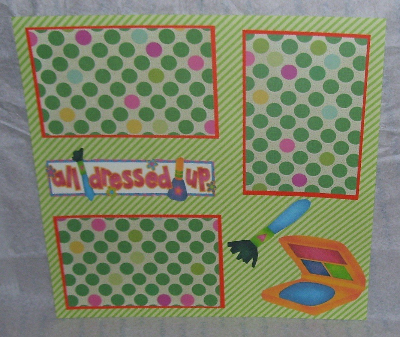 """All Dressed Up Makeup a""-Premade Scrapbook Page 12x12"