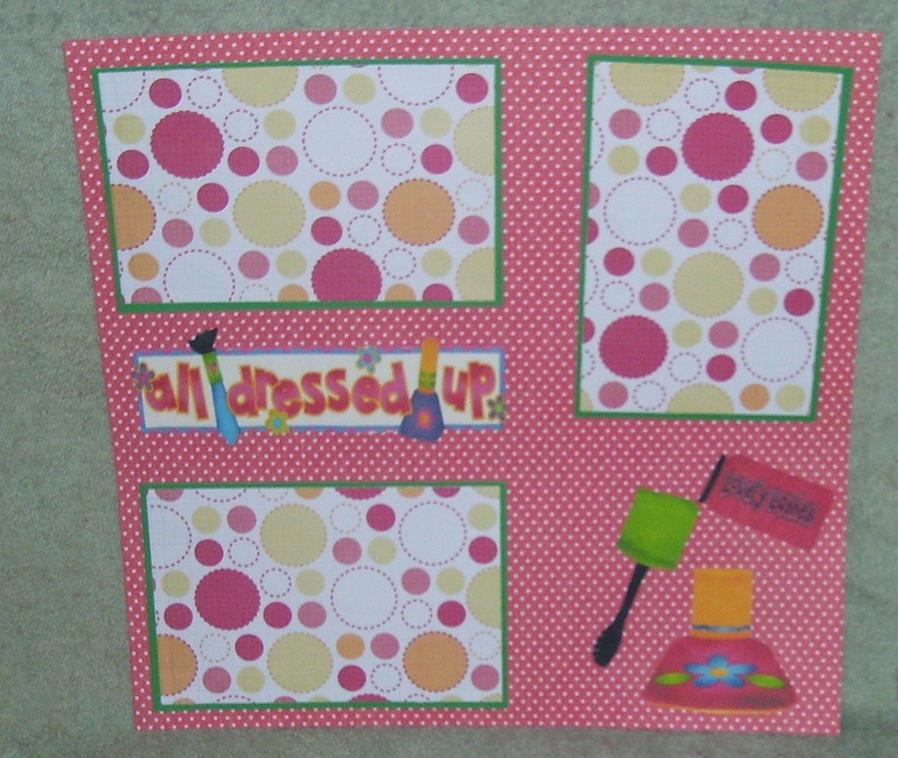 """All Dressed Up Nail Polish""-Premade Scrapbook Page 12x12"