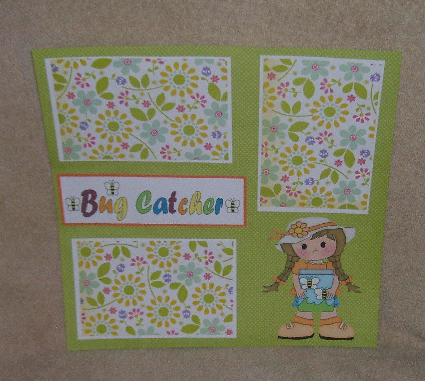 """Bug Catcher Girl""-Premade Scrapbook Page 12x12"