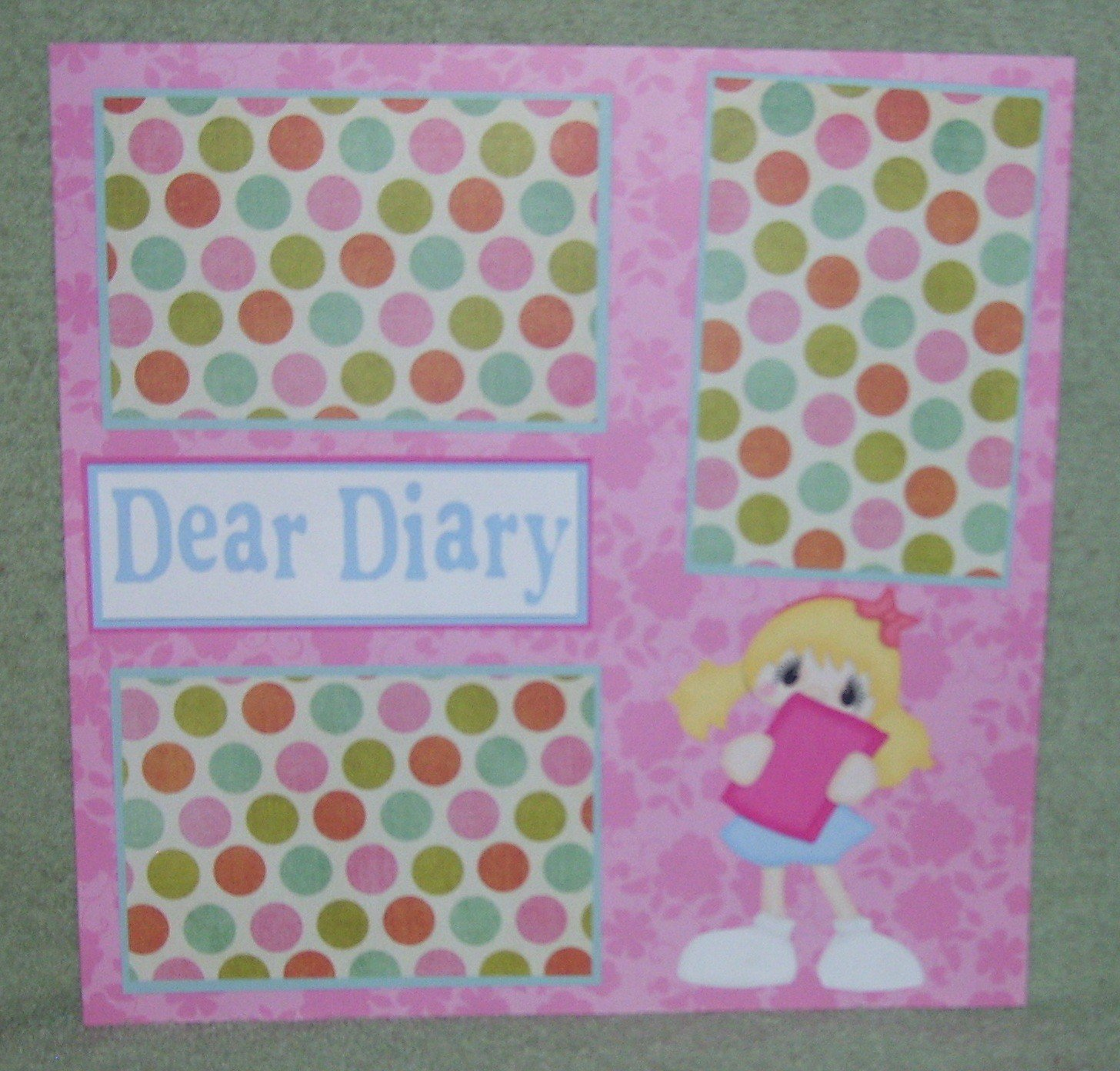 """Dear Diary 2""-Premade Scrapbook Page 12x12"