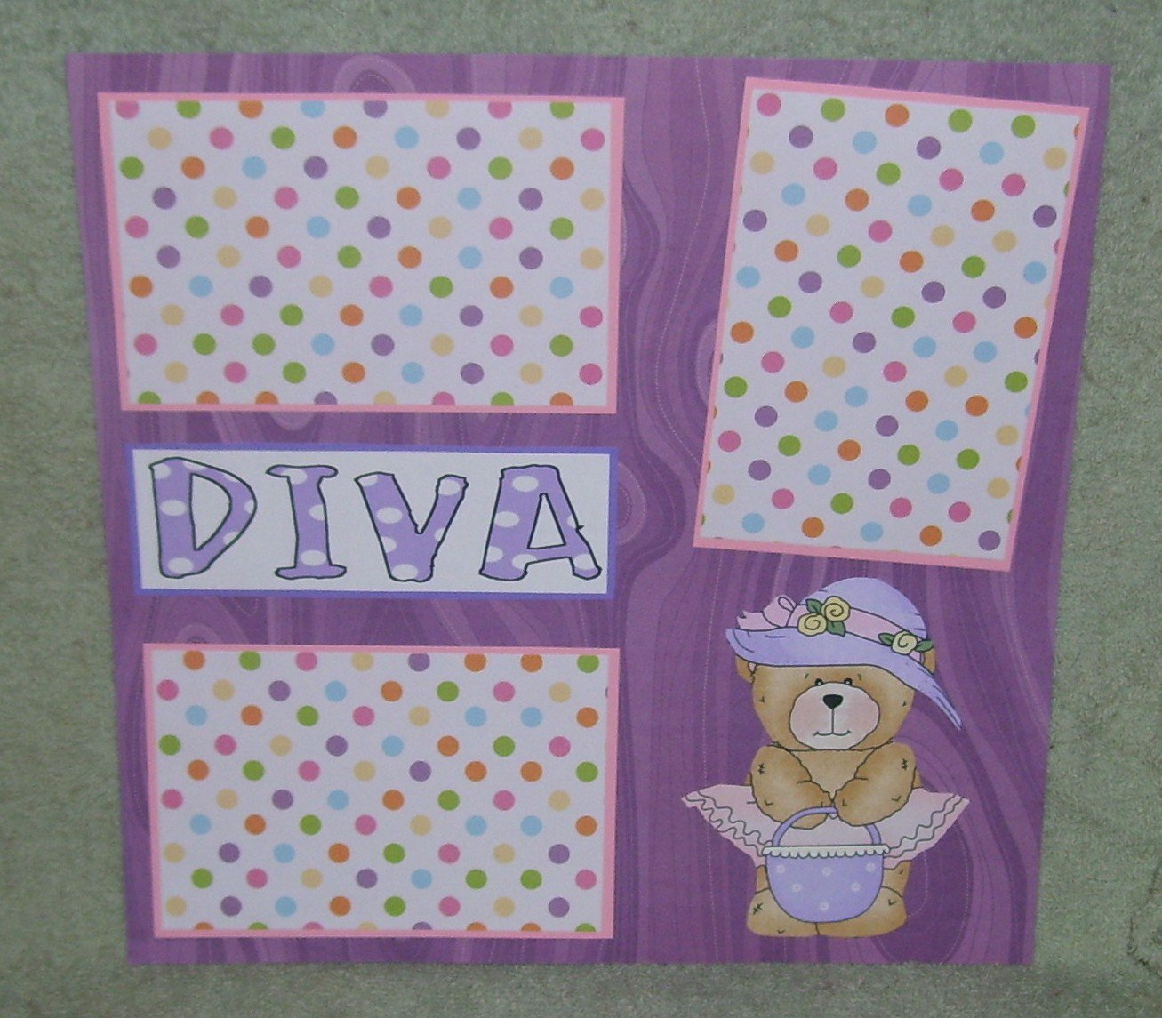 """Diva""-Premade Scrapbook Page 12x12"