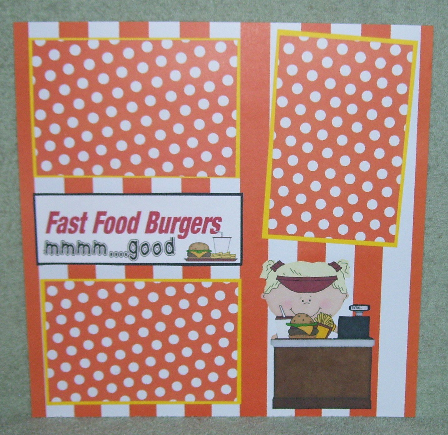 """""""Fast Food Burgers Girl""""-Premade Scrapbook Page 12x12"""