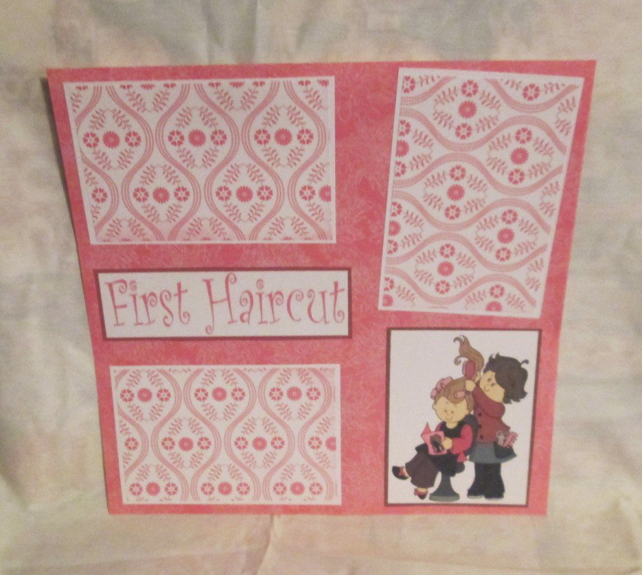 """""""First Haircut Girl bl""""-Premade Scrapbook Page 12x12"""