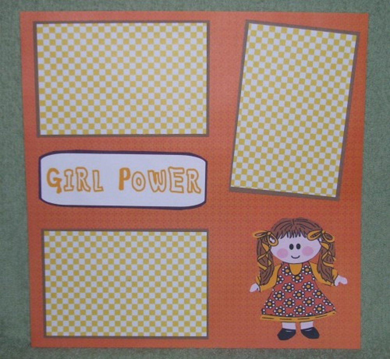 """""""Girl Power""""-Premade Scrapbook Page 12x12"""