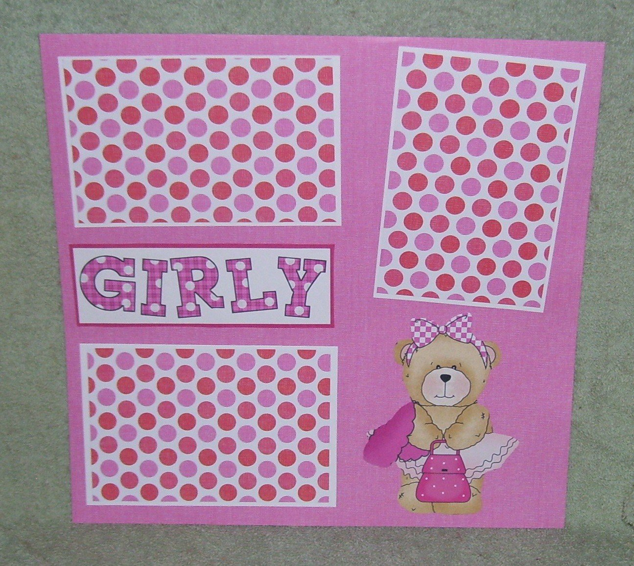"""Girly""-Premade Scrapbook Page 12x12"
