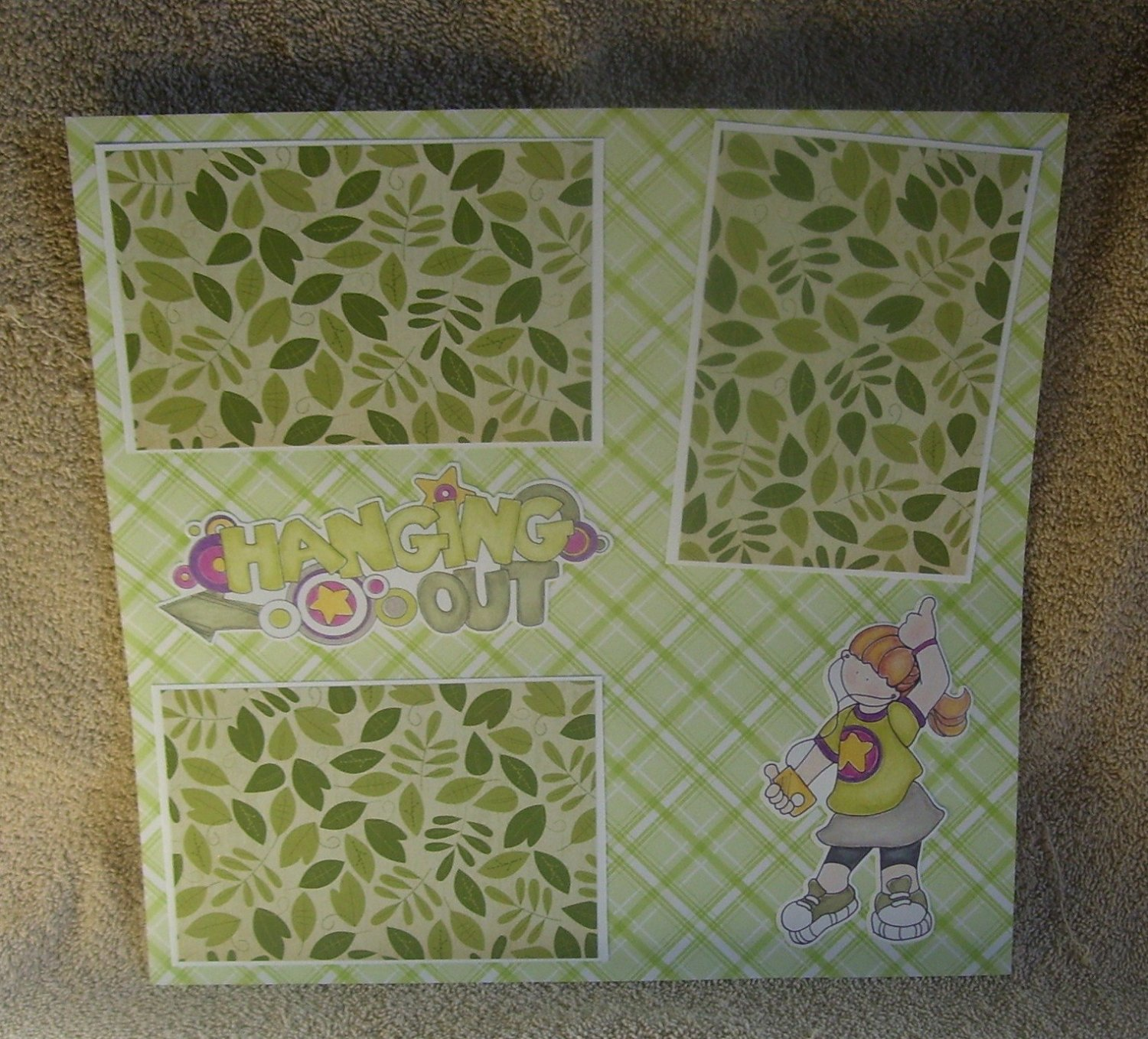 """""""Hanging Out Girl""""-Premade Scrapbook Page 12x12"""