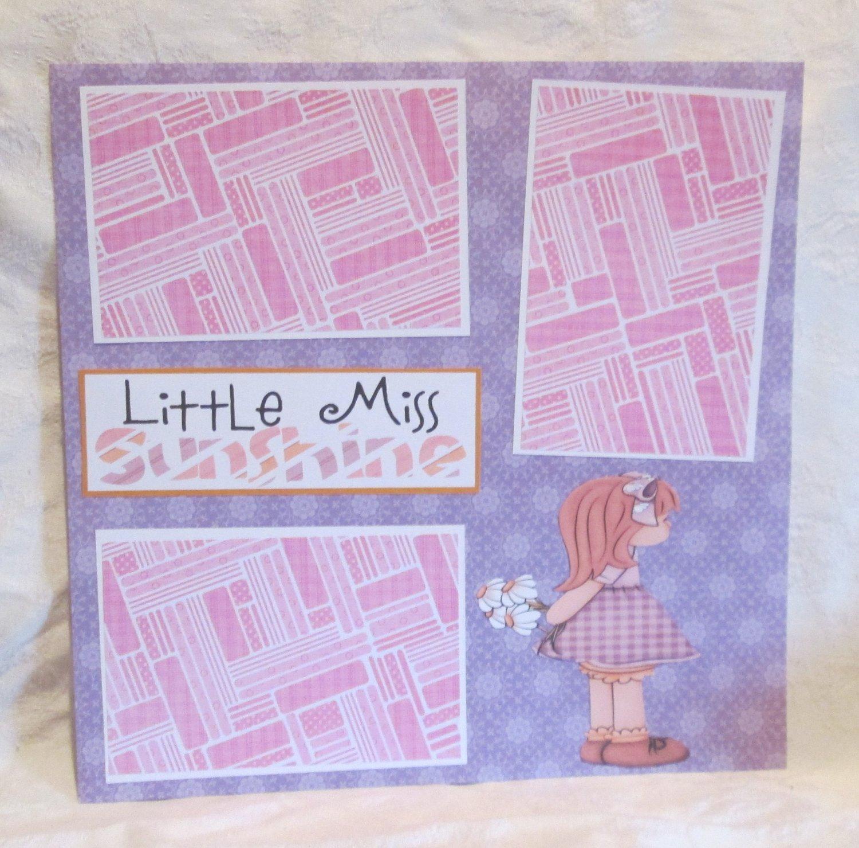 """Little Miss Sunshine tc""-Premade Scrapbook Page 12x12"
