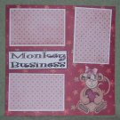 """Monkey Business Girl tc""-Premade Scrapbook Page 12x12"