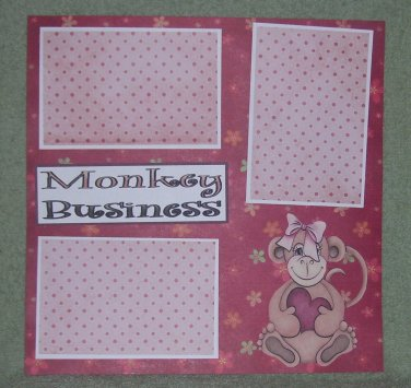 """Monkey Business Girl tc""-Premade Scrapbook Page 12x12"