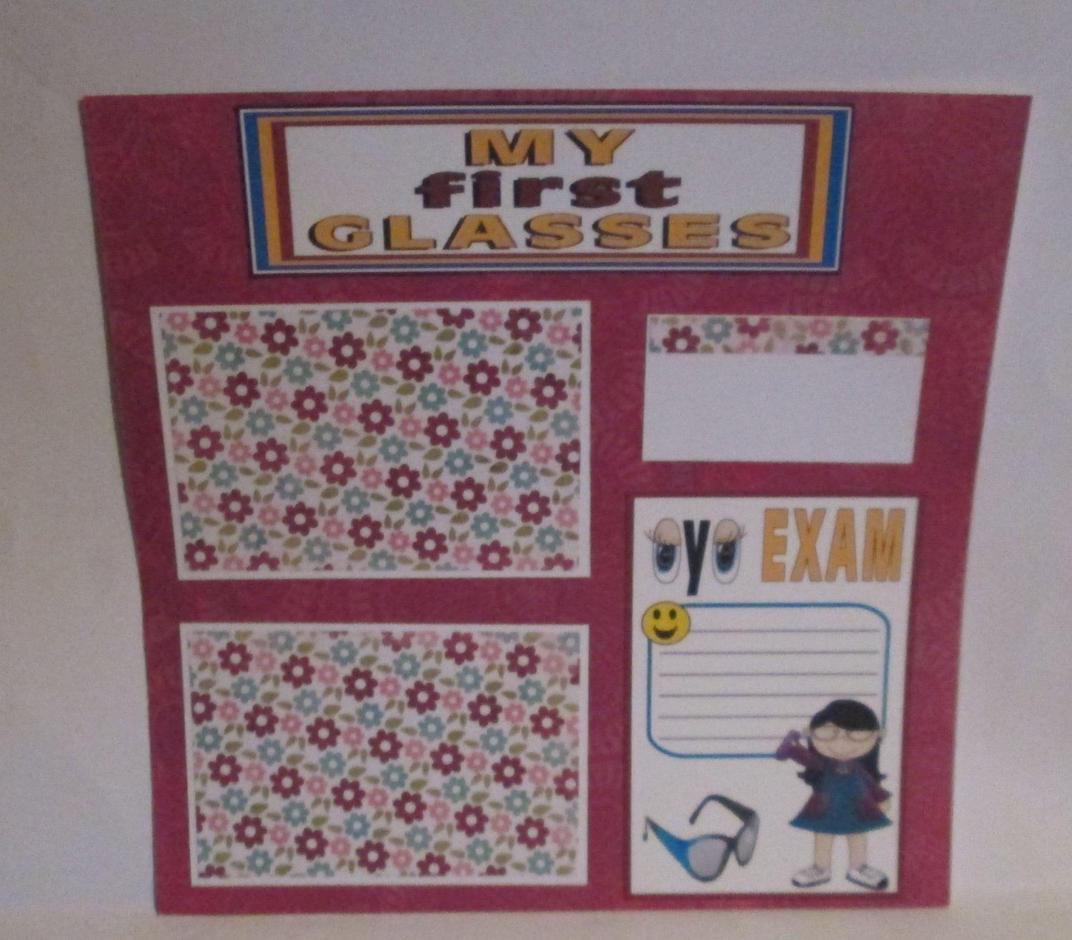 """My First Glasses Girl c""-Premade Scrapbook Page 12x12"