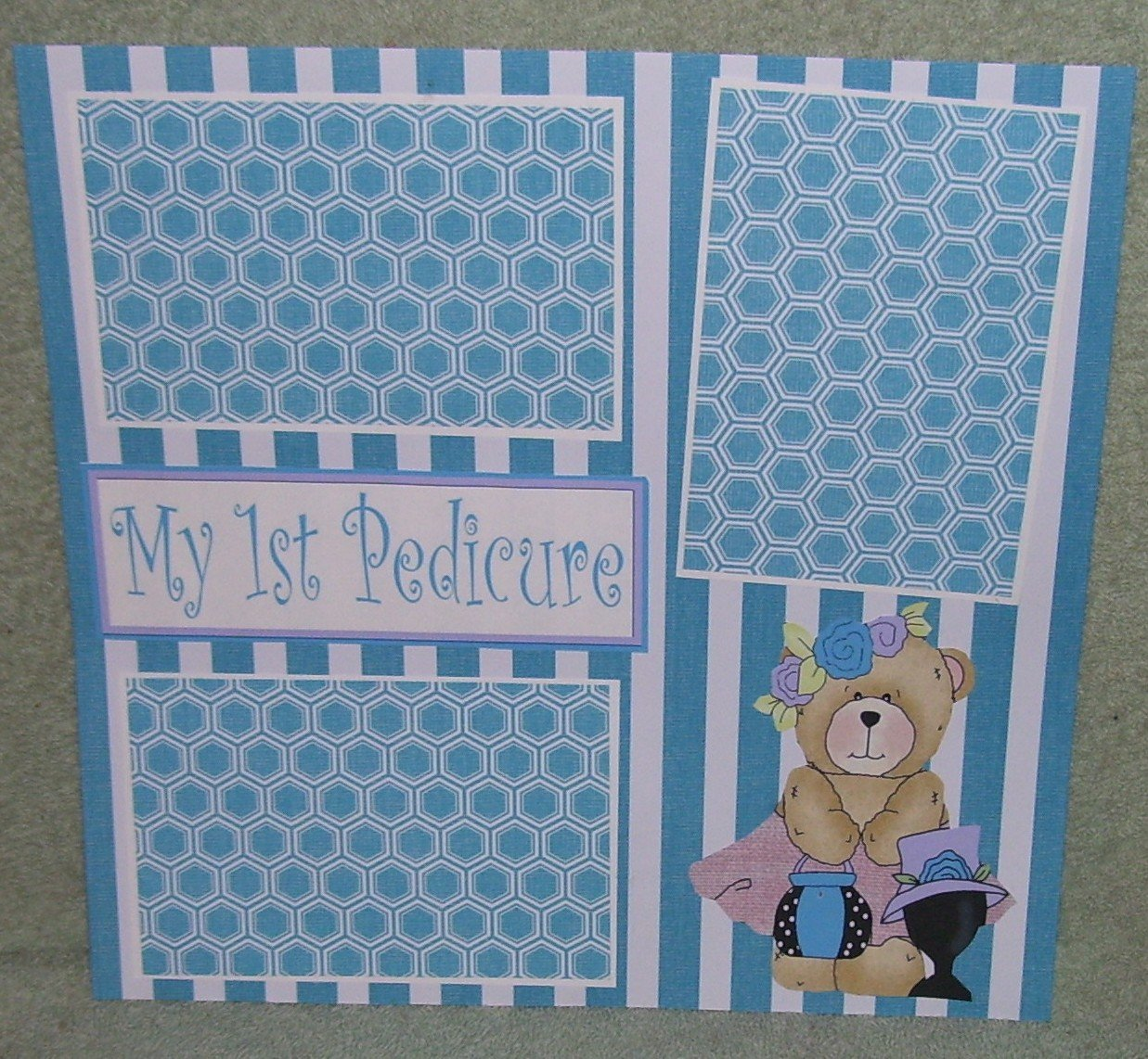 """My First Pedicure""-Premade Scrapbook Page 12x12"