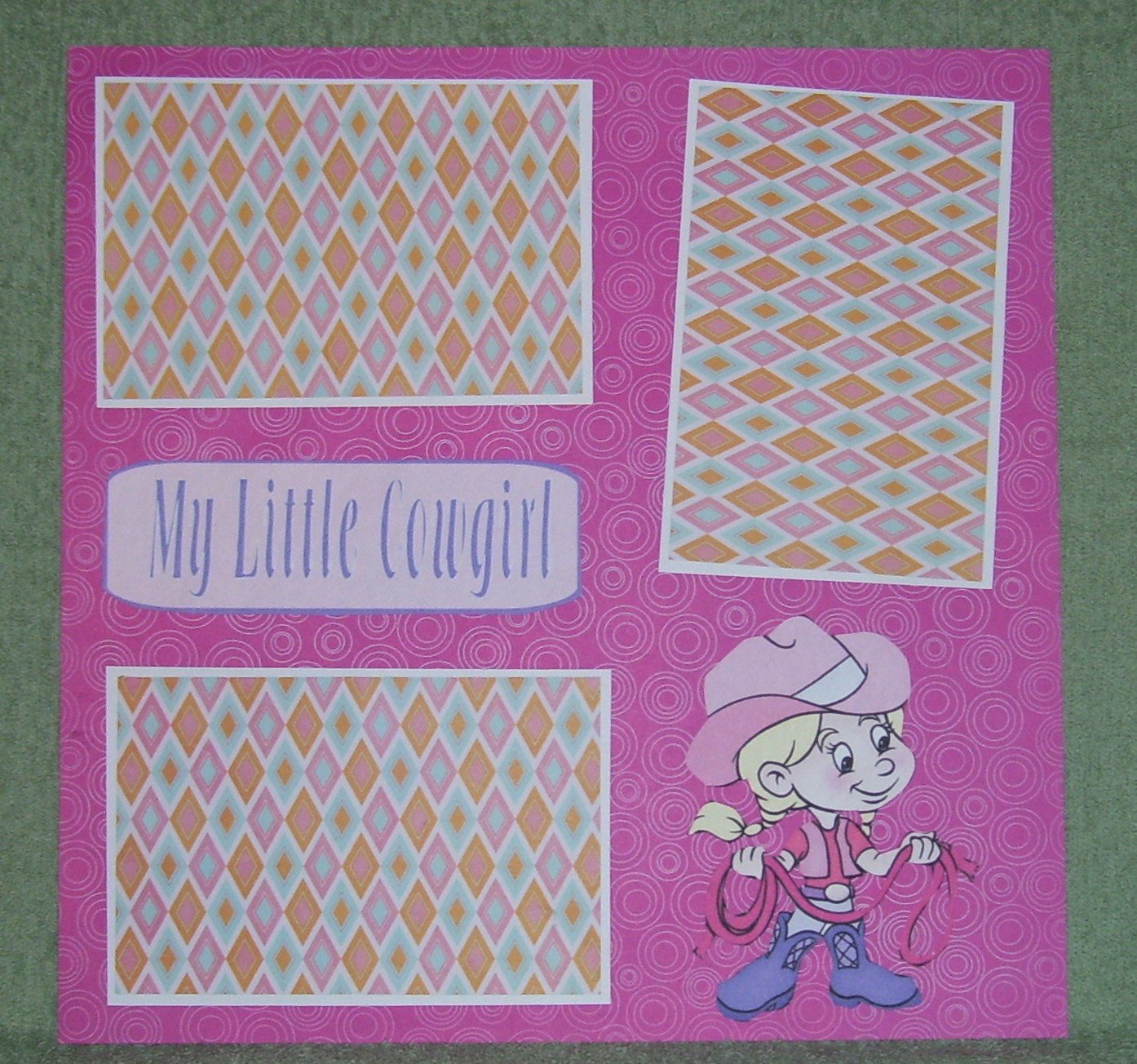 """My Little Cowgirl""-Premade Scrapbook Page 12x12"