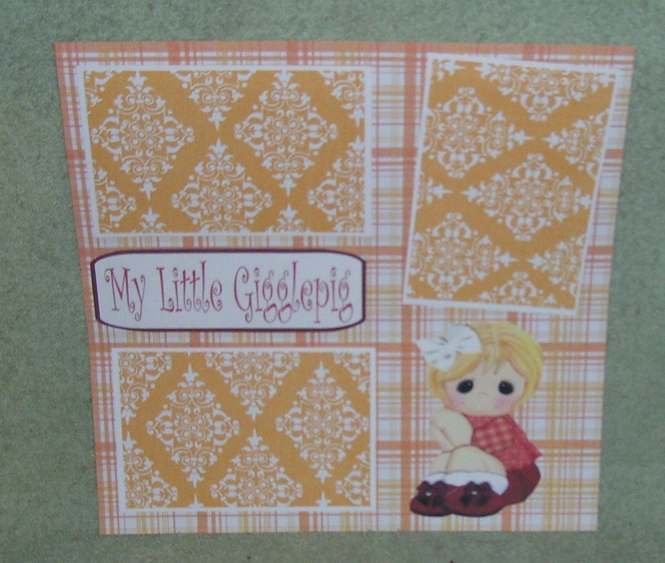 """""""My Little Gigglepig""""-Premade Scrapbook Page 12x12"""