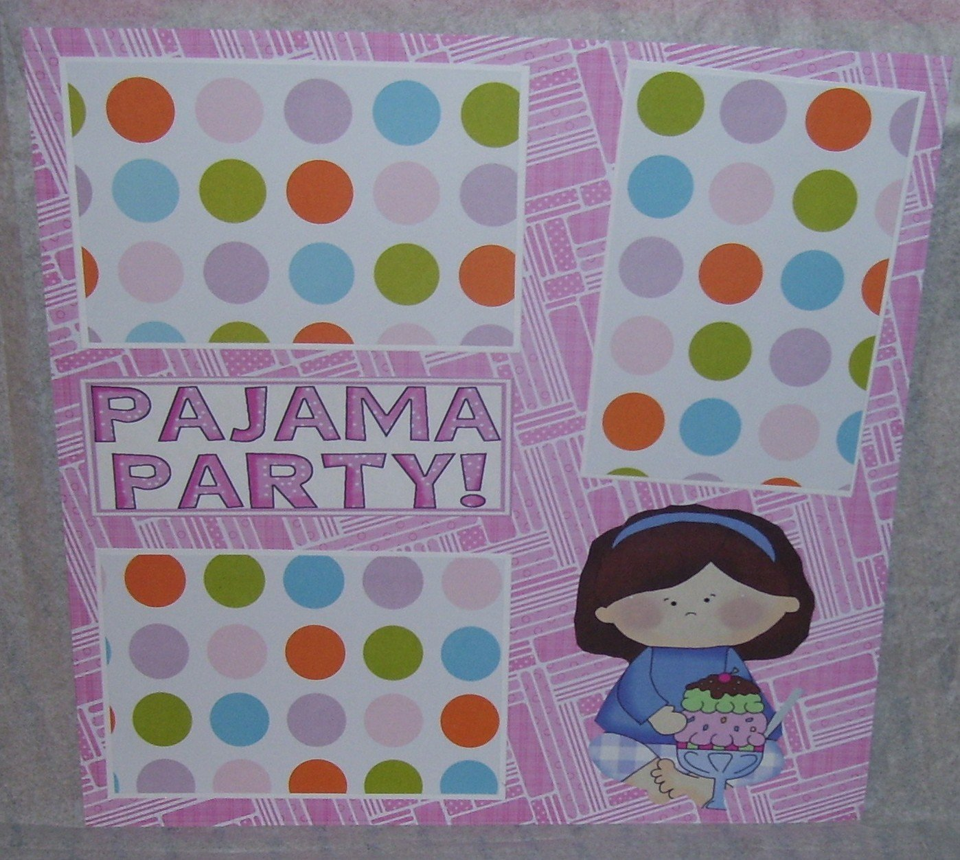 """Pajama Party Girl cs""-Premade Scrapbook Page 12x12"